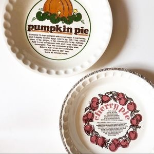 Vintage PUMPKIN & CHERRY pie dishes